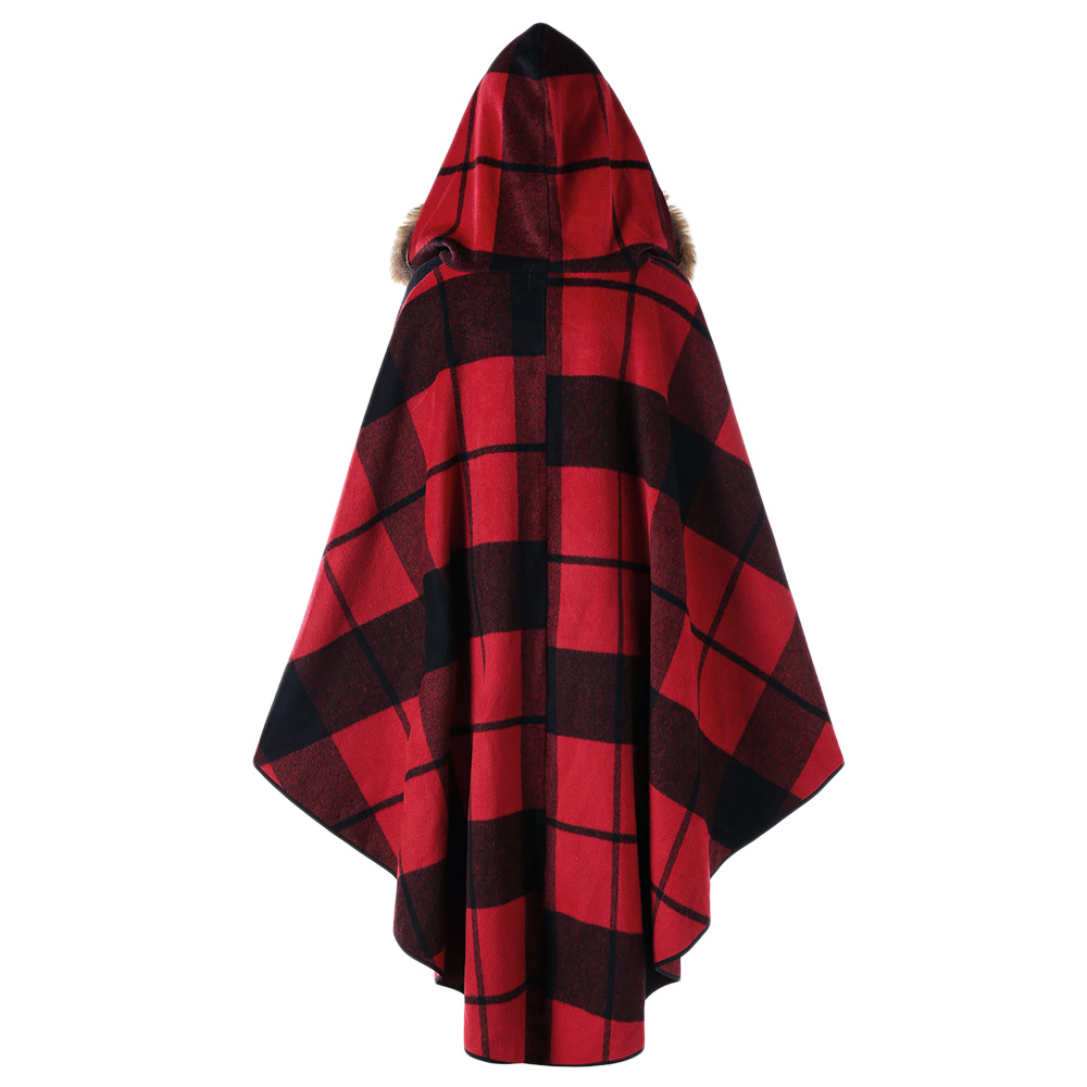 VESTLINDA Plus Size Plaid High Low Hooded Cloak Fashion Women Hooded Capes Autumn Winter Red Black Cape Coat Trench Coat 5XL 4XL 2
