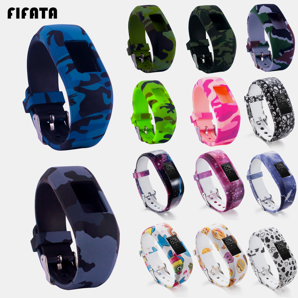 FIFATA Camouflage Strap Silicone Wristband For Garmin VivoFit JR2 Smart Band Child Bracelet Band For VivoFit JR Activity Tracker