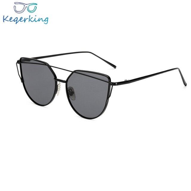 3393603d0f3 2018 Cat Eye vintage Brand designer rose gold mirror Sunglasses For Women  Metal Reflective flat lens Sun Glasses Female ZB-12
