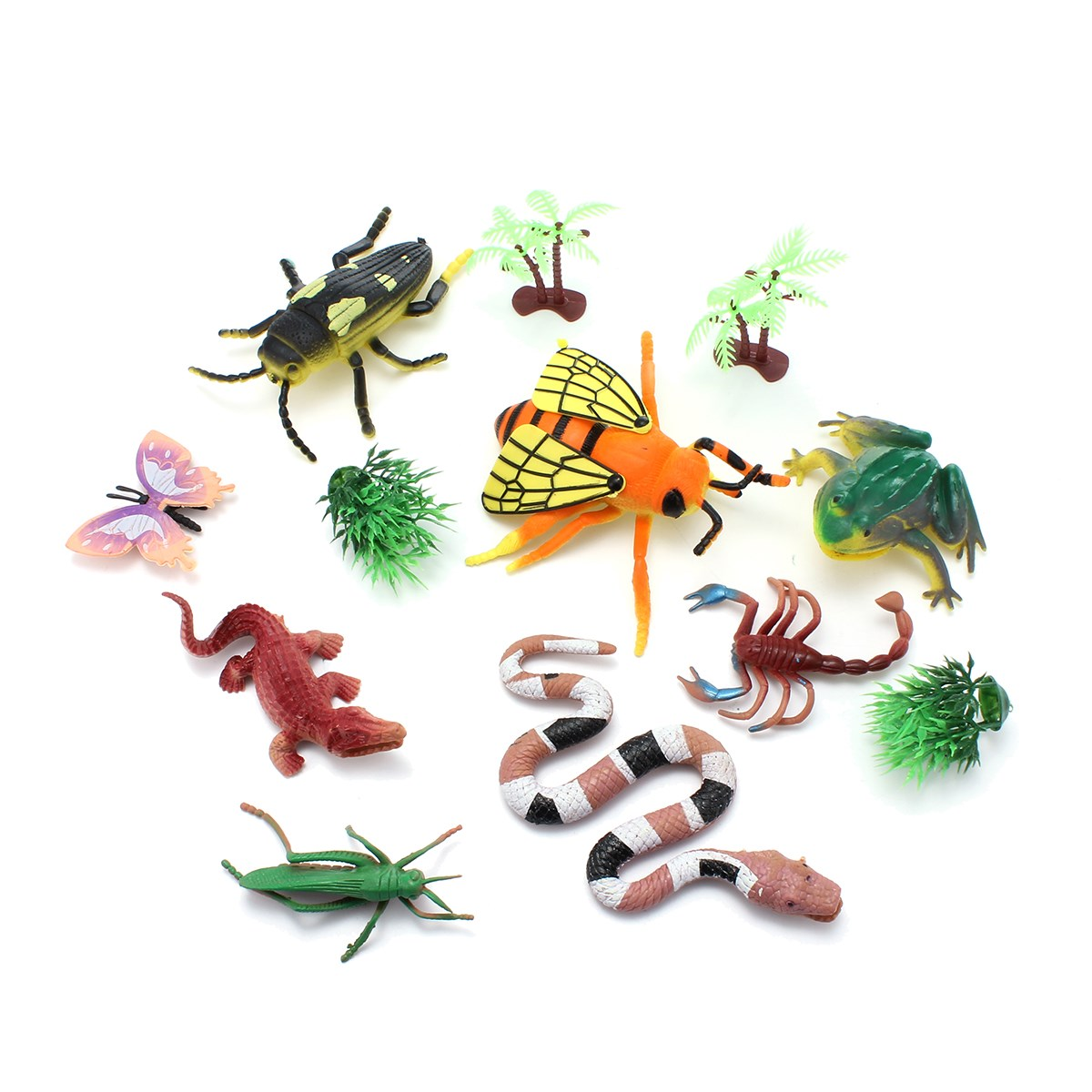 8pcs Mini Insect Toy Model Set Snake Grasshopper Butterfly Scorpion Hexapod  Decor Figures Model Set With Tree Model Sets-in Action & Toy Figures from