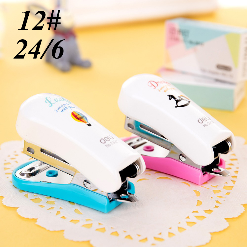 12#Mini Remover Lovely Stapler Set Cartoon Office School Supplies Staionery Paper Clip Binding Binder Book Sewer