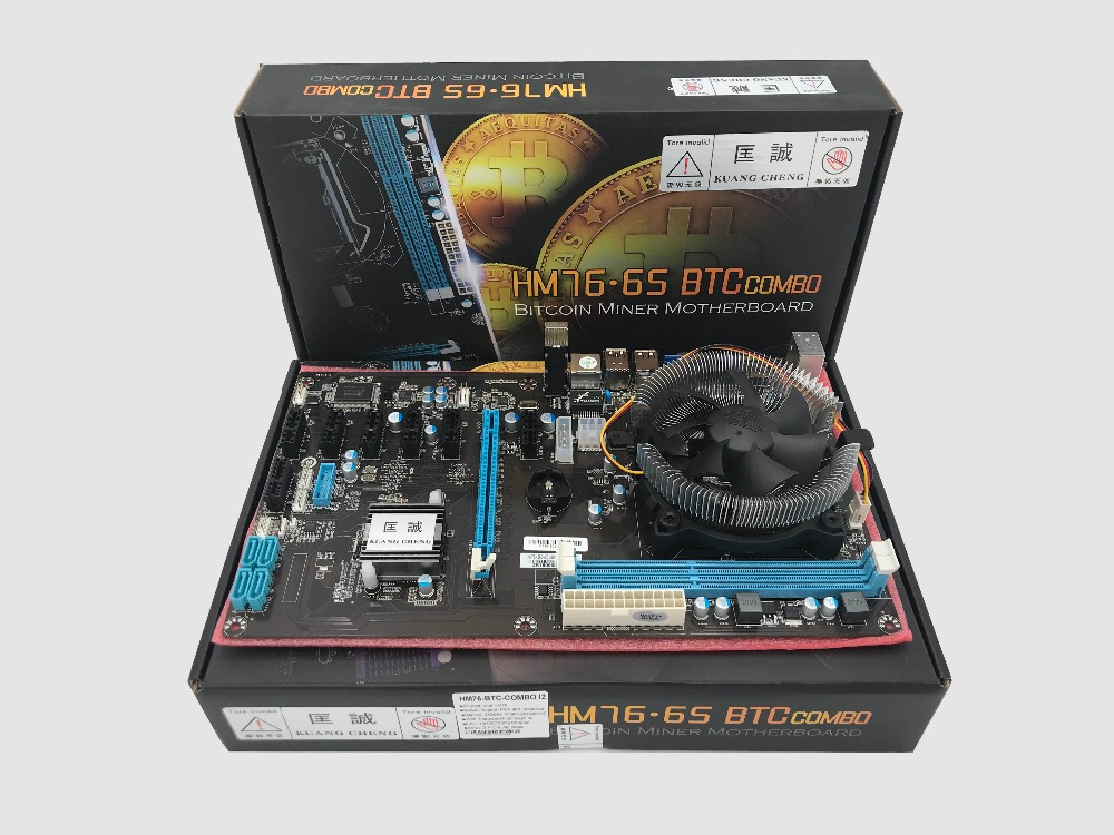KUANGCHENG ETH ETC ZCASH 8 CARDS Motherboard HM76.65 BTC COMBO Support 8 Graphics Card For ETH Miner  BITCONIN MINER MOTHERBOARD