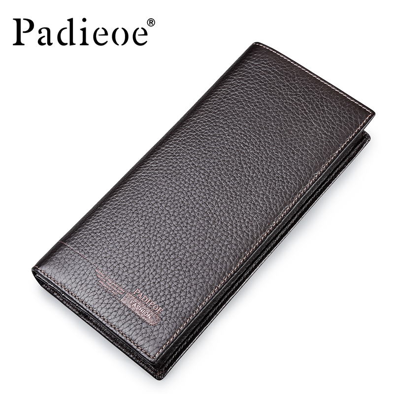 Padieoe brand men wallets genuine leather long business male slim card holder wallet purse padieoe new design metal wallet for male famous brand fashion men s business purse high quality men genuine leather card holder