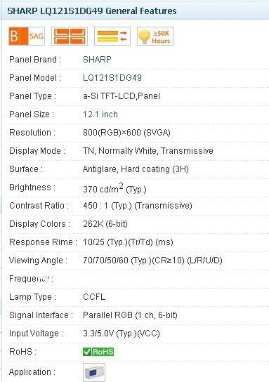 все цены на  LQ121S1LG49 800*600 12.1 INCH Industrial LCD,A+ Grade in stock, free shipment  онлайн