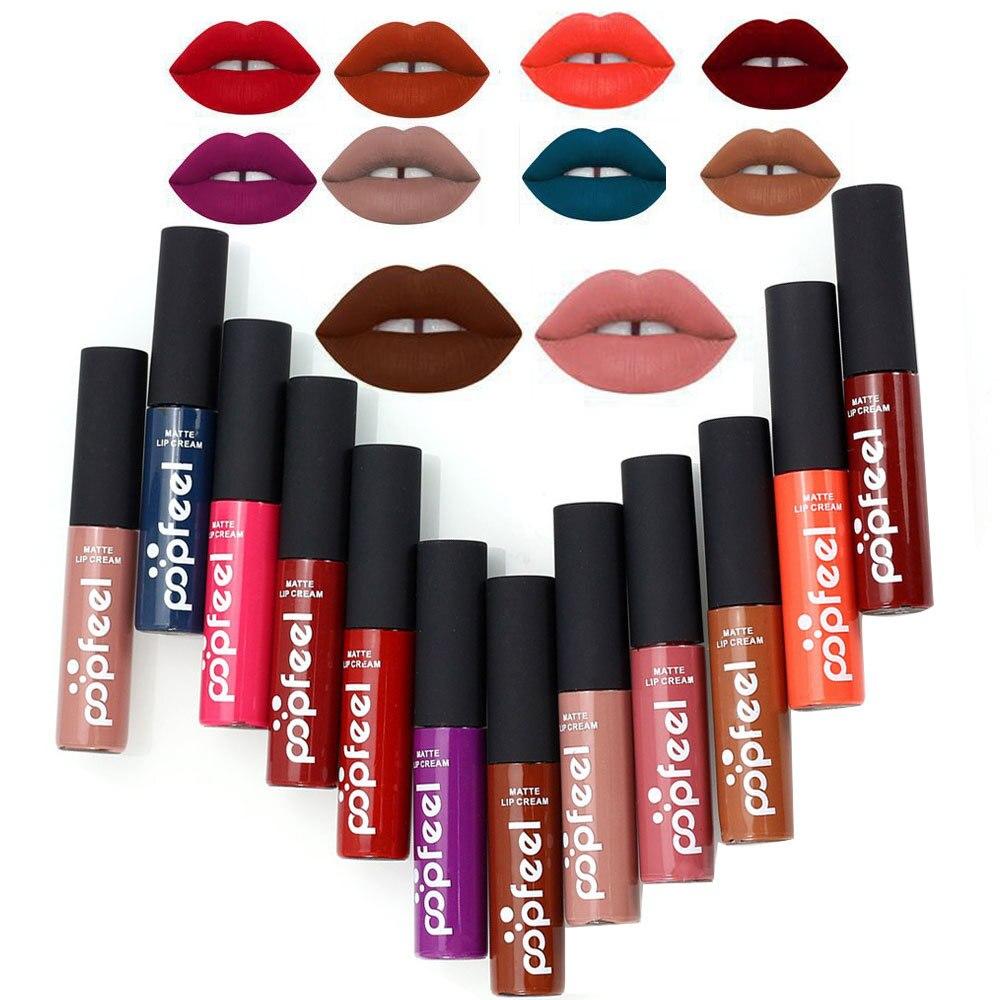 1pcs Tint liquid Lipstick Matte Lip Gloss Red Velvet Waterproof Long Lasting Lipgloss Sexy Lipstick Tattoo Makeup Popfeel Brand in Lipstick from Beauty Health