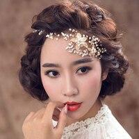 Bridal Wedding Party jewelry Vàng sliver Lá Ngọc Trai Headbands Flower Đầu Mảnh Cô Dâu dải Tóc Cổ Điển