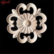 10CM Round Unpainted Wood Carved Corner Onlay Applique Frame Window Door Decor Wooden Figurines Crafts