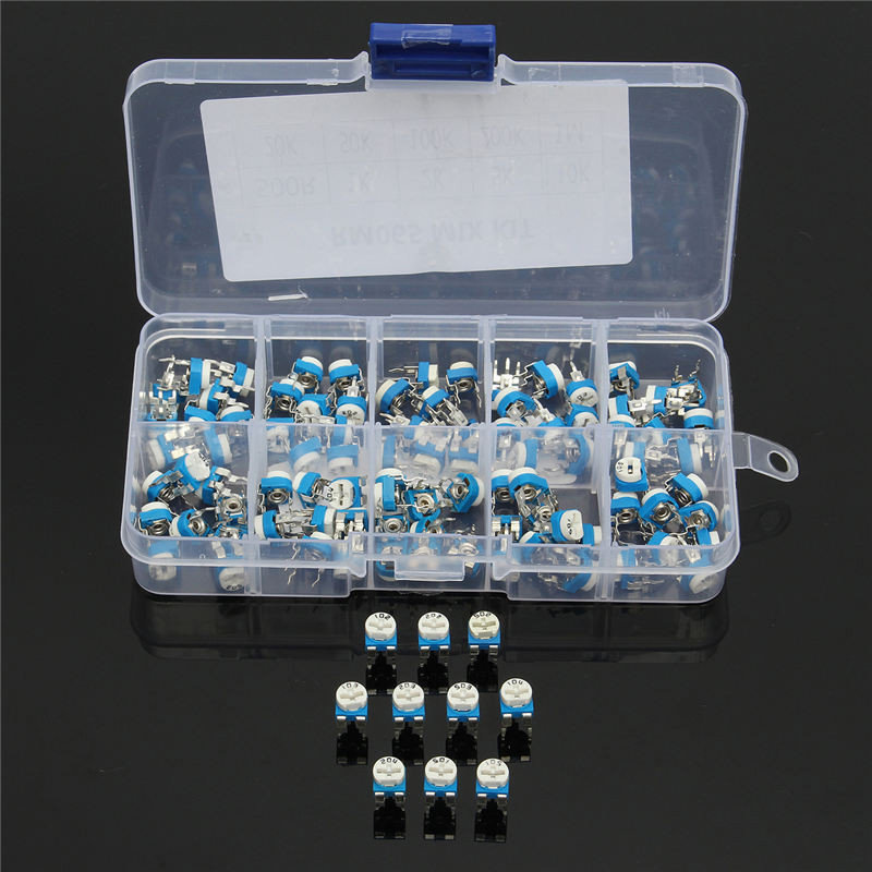 100Pcs 10 Values Variable Resistor 500R To 1M RM065 Carbon Film Horizontal Trimpot Potentiometer Assortment Kit