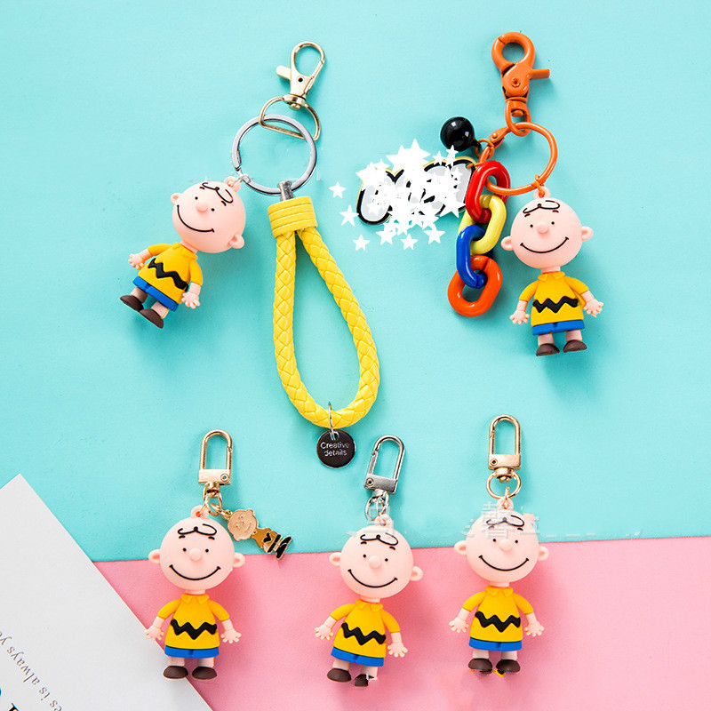 Ins Snoppy Charlie Cute Cartoon Keychain Gift For Women Girls Bag Pendant  Figure Charms Key Chains Jewelry Porte Clef  Key Ring