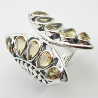Yellow Citrines BUTTERFLY Ring Size 6 Bijoux Solid Silver Unique Designed
