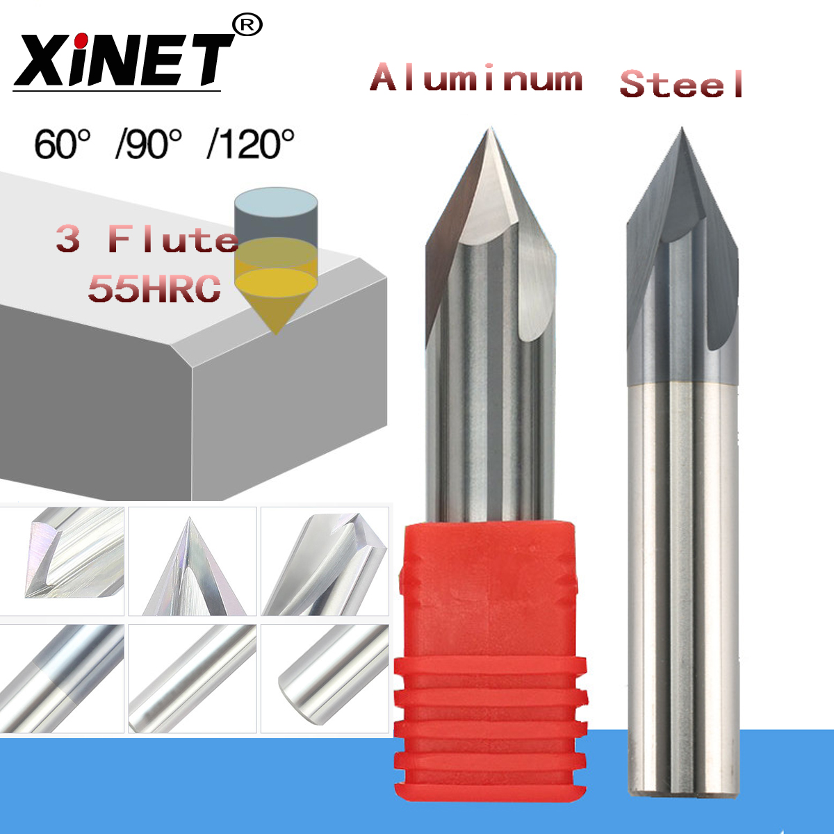 55HRC  CNC Tungsten Carbide Aluminum And Steel Chamfer Milling Cutter,30&45&60 Degree Tialn Coated 3 Flutes End Mill