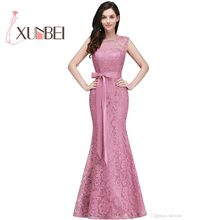 Vestido de festa longo Mermaid Burgundy Dusty Pink Lace Bridesmaid Dresses  2019 Formal Prom Dress Party Gowns With Sash fd9a68a3f2d7