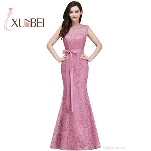 Image 3 - Vestido de festa longo Mermaid Burgundy Dusty Pink Lace Bridesmaid Dresses Formal Prom Dress Party Gowns With Sash