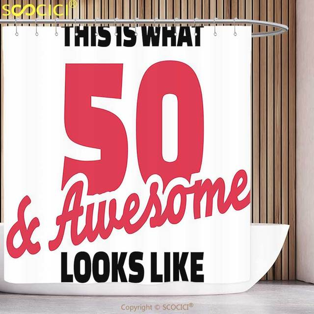 Fun Shower Curtain 50th Birthday Decorations Fifty And Awesome Cool Hand Written Happy Slogan Red Black White Bathroom