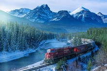train nature ice mountain forest Canada Home Decoration Canvas Poster(China)