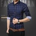 Plaid Camisas Para Hombre del Estilo de La Moda 100% Algodón 2017 Mens Camisas de Vestido Ropa Sociales Chemise Homme Camisa Casual Hombres de la Marca M-5XL