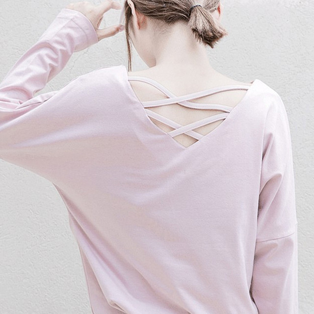 Harajuku Hollow Out Large V Neck Summer Spring Full Sleeve Solid Tshirt Casual Daily Women Tops Tee Shirt Femme Plus Size TT2325