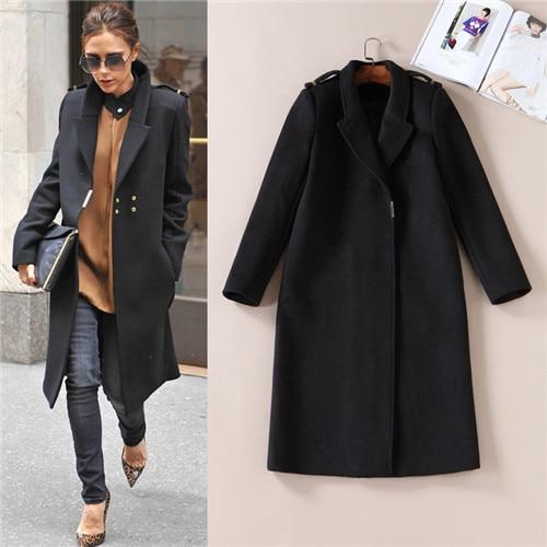 84dd90c36a11 Autumn Winter 2017 Celebrity Victoria Beckham Long Wool Coat Women ...