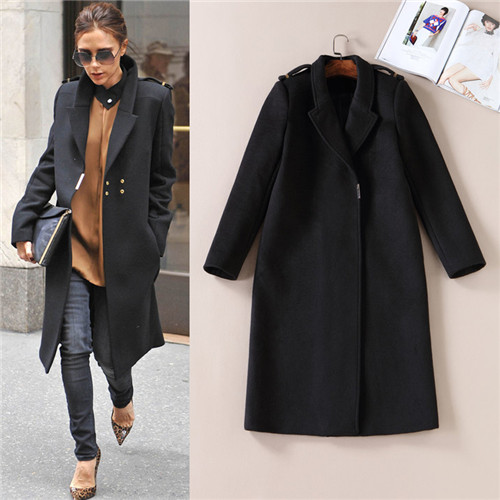 058388f8045 Autumn Winter 2017 Celebrity Victoria Beckham Long Wool Coat Women Woolen  Overcoat Turn down Collar Black Thick Cashmere Coats-in Wool   Blends from  Women s ...