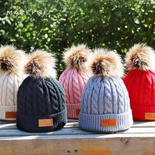 2018 Hot Brand Children Pompom Knit Beanie Hat Autumn Winter Boy Girl Cute Soft Cap Kids Slouchy Faux Fur Warm Beanies Skullies