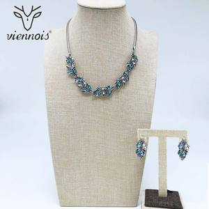 Image 5 - Viennois moda conjunto de jóias para mulher colorido zircônia colar e brincos conjunto de jóias moda conjunto de jóias para mulher