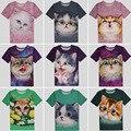 Gatito lindo 3D de impresión T-shirt de algodón Unisex t shirt mujeres gatito de manga corta para ocasional Homme Loose Summer Tops camisetas mujer más