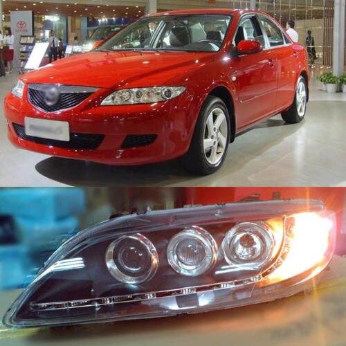 Ownsun тройной Автоматический проектор светодиодные полосы ДХО Ангел глаз фары для Mazda 6 04-2011