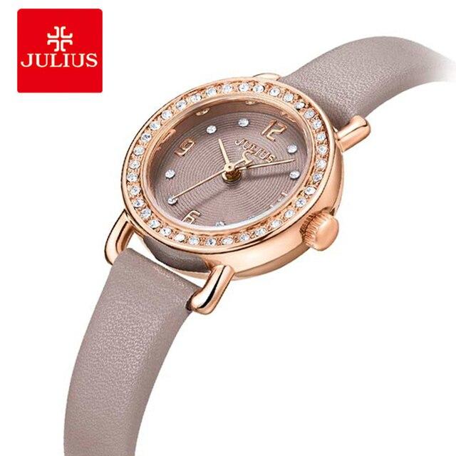 5aa263941d71 Marca Julius mujer cuero reloj de pulsera de cuarzo de cristal pequeño Dial señoras  relojes de