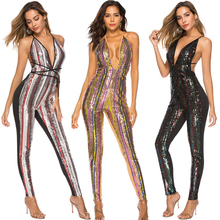 2019 Sequin Jumpsuits Sexy Deep V cut Backless Fitted Pantsuits Rompers Club Disco Party Red Carpet Wear eDressU OSH-18524 v cut textured slim fitted tee