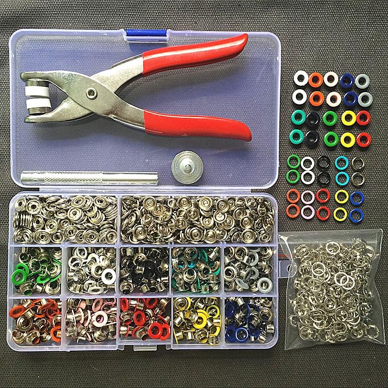 Плоскогубцы 1 шт. + 1 набор инструментов для люверсов + 100 наборов, 10 цветов, зубчатые кнопки 9,5 мм, крепежные кнопки, кнопки и 200 шт. люверсов 5 мм