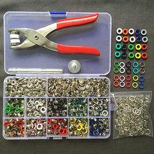 Pince + 1 jeu de œillets + 100 ensembles, 10 couleurs, 9.5mm, attaches à boutons pression, boucles + 200 pièces de 5mm