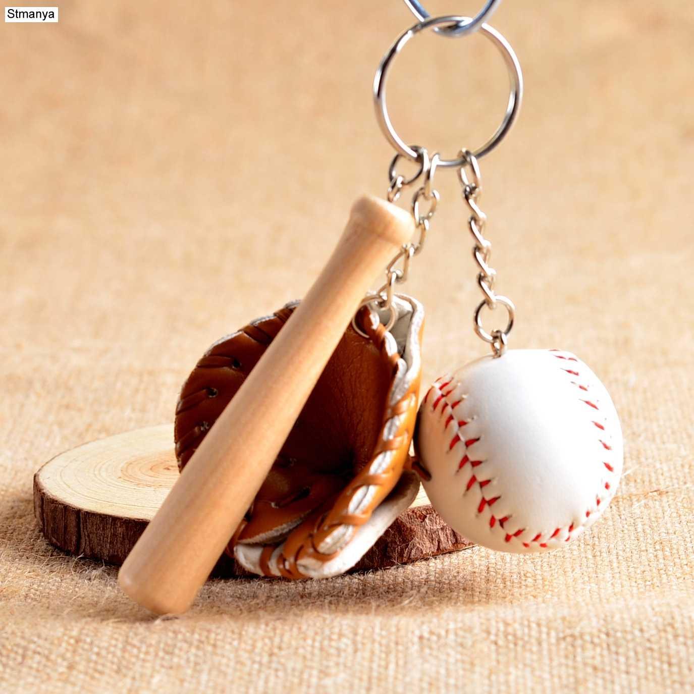 Mini Three-piece Baseball glove wooden bat keychain sports Car Key Chain  Key Ring Gift 1631903be