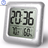 Wall Clock Silicone Bathroom Kitchen Shower Suction Water Resistant Timer Glass Bathroom Temperature Humidity Electronic Digital
