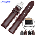High Quality Genuine Leather Watchband 22mm Black Brown Strap For Pebble Time Steel New Hot Free Tools