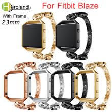 цена на Stainless Steel Watch Band For Fitbit Blaze smart replacement Crescent Type Wrist Strap For Fitbit Blaze bracelet Rhinestone new