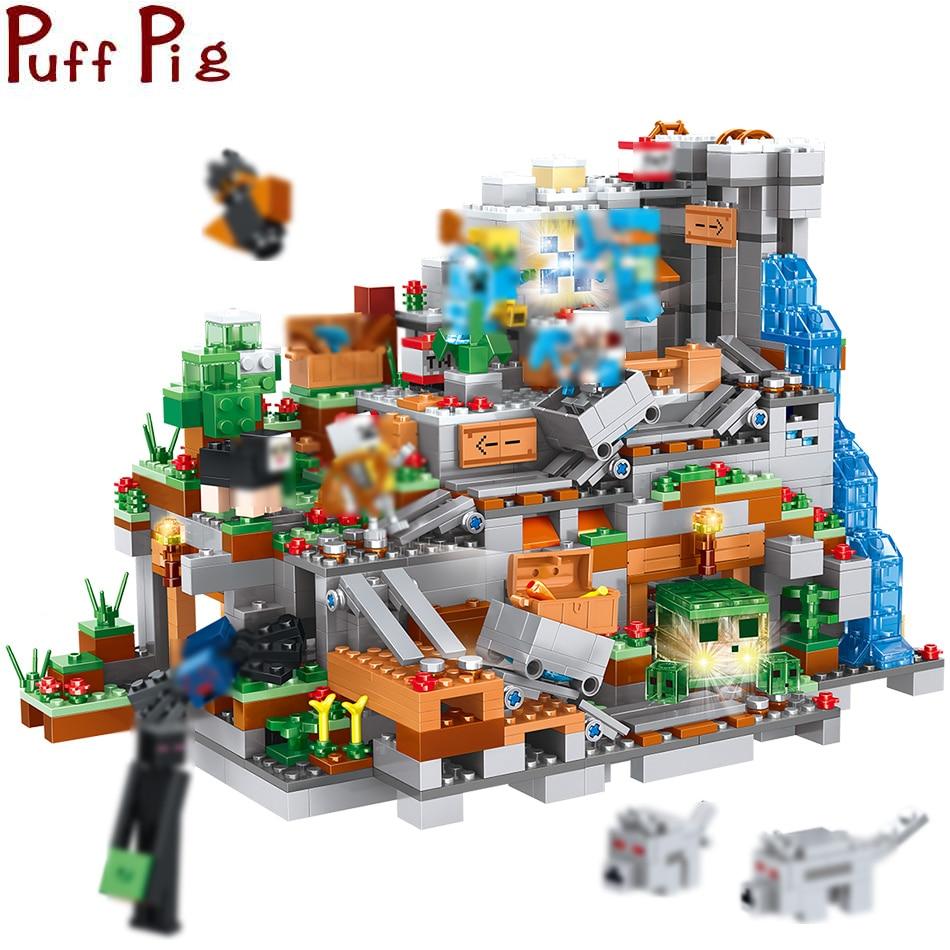 1315 pcs MON Monde La Montagne Grotte Steve Enderman Chiffres Blocs De Construction Légers Compatible Legoed Minecrafted Ville Jouets Pour Enfants
