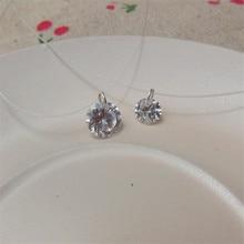 Fashion Transparent Fishin Line Cubic Zircon Pendant Necklace For Women Withe Pink Choker Necklace collier ras