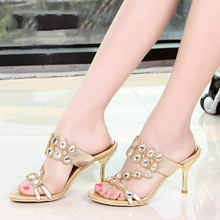 2016 Summer Hot Sale Sexy Women's Shoes Peep Toe Stiletto Heel Slippers Womens High Heels Party Sandals Evening Pink Purple Gold
