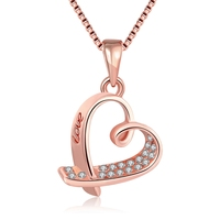 Love The LOGO Of Elegant Fashion Rose Gold Heart Hollow Out Zircon K Gold Rope Chain