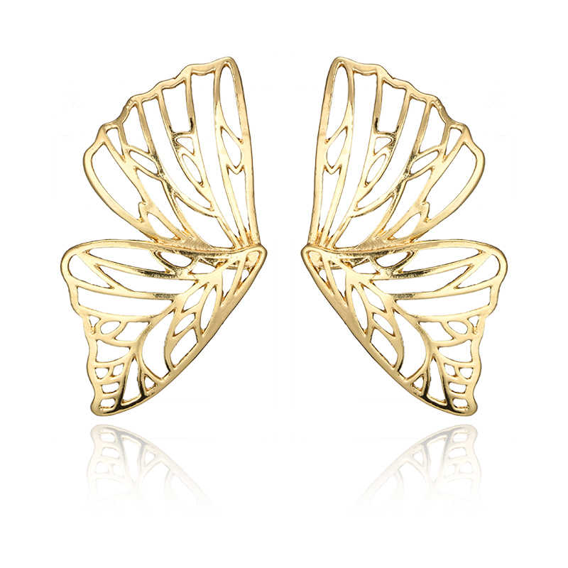 Docona Gold Hollow Butterfly Drop Dangleต่างหูสำหรับผู้หญิงโลหะจี้ต่างหูเครื่องประดับBrincos 6218
