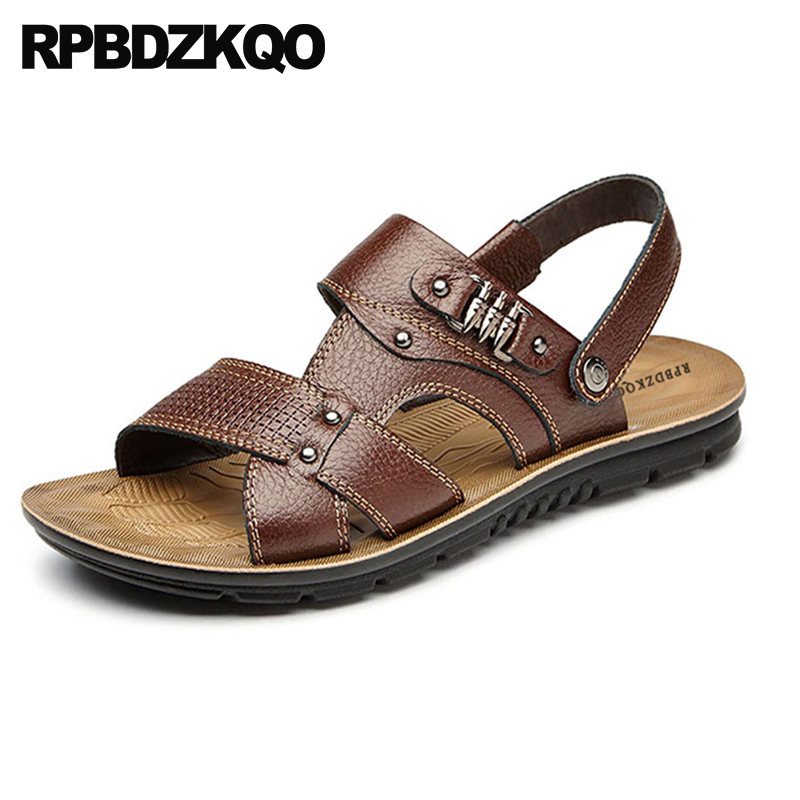 Strap 47 Water Sandals Size Brown Summer Yellow Men Fashion Flat Slides  Mens Slippers 46 Outdoor ... d1d31994e887
