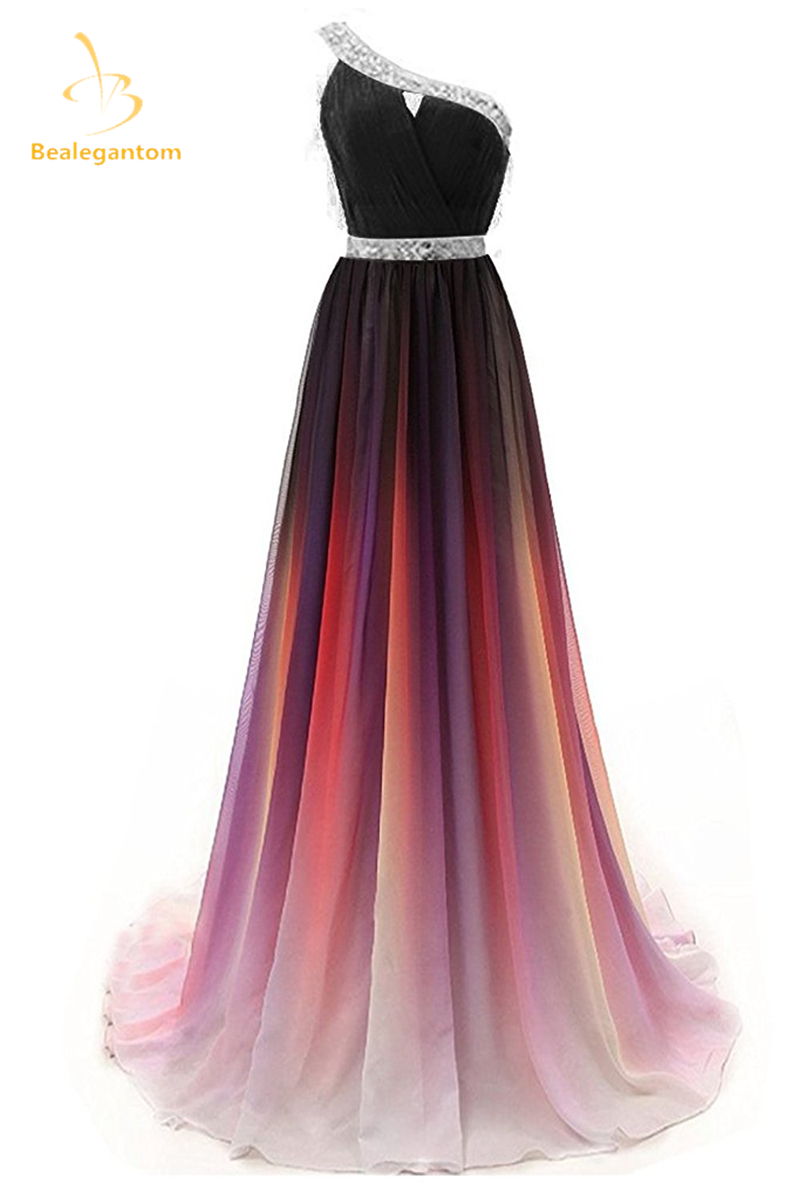 Bealegantom 2019 Gradient One Shoulder Chiffon Prom Evening Dresses Beaded Plus Size Ombre Party Gowns Vestido Longo QA1232