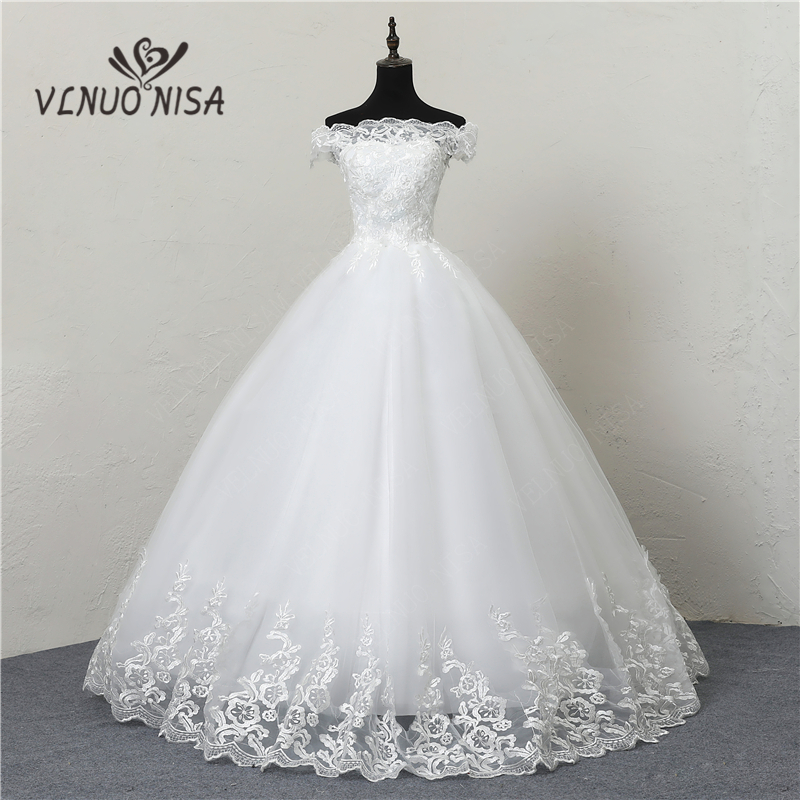 Robe De Mariee Grande Taille New Wedding Dress Lace Boat Neck Off The Shoulder Ball Gown Princess Plus Size Vintage Brides 20
