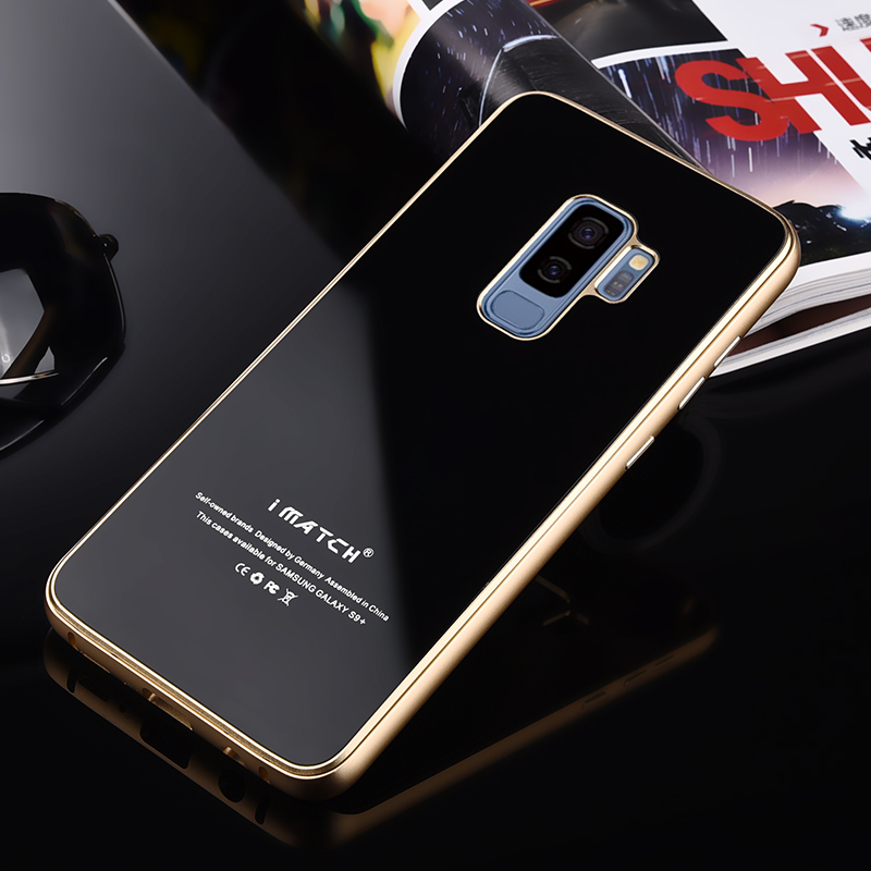 Original iMatch Case For Samsung Galaxy S9 S9 Plus Metal Bumper 9H Hardness Tempered Glass Back