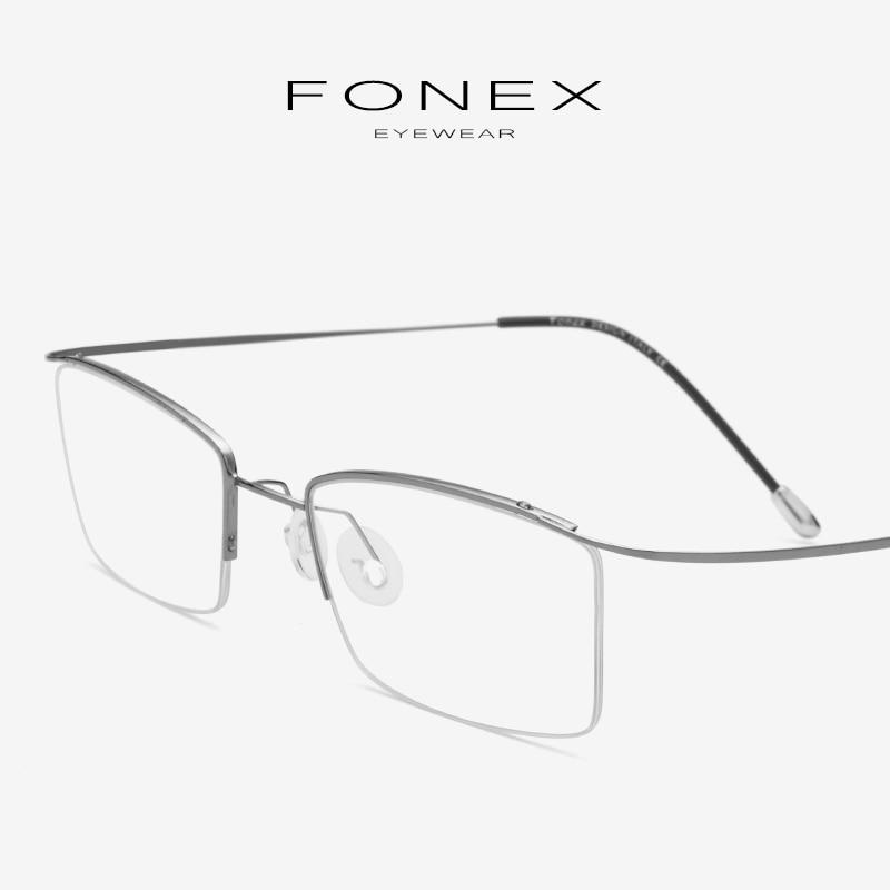 Titanium Alloy Eyeglasses Frame Men Ultralight Male Prescription Half Myopia Optical Glasses Frame Korean Screwless Eyewear 1017