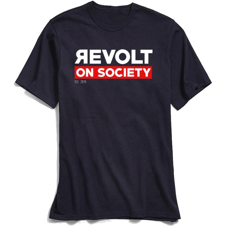 Cotton Fabric Male Short Sleeve Revolt On Society T-Shirt Comics Tees 2018 Discount Print Crewneck Tops & Tees Revolt On Society navy