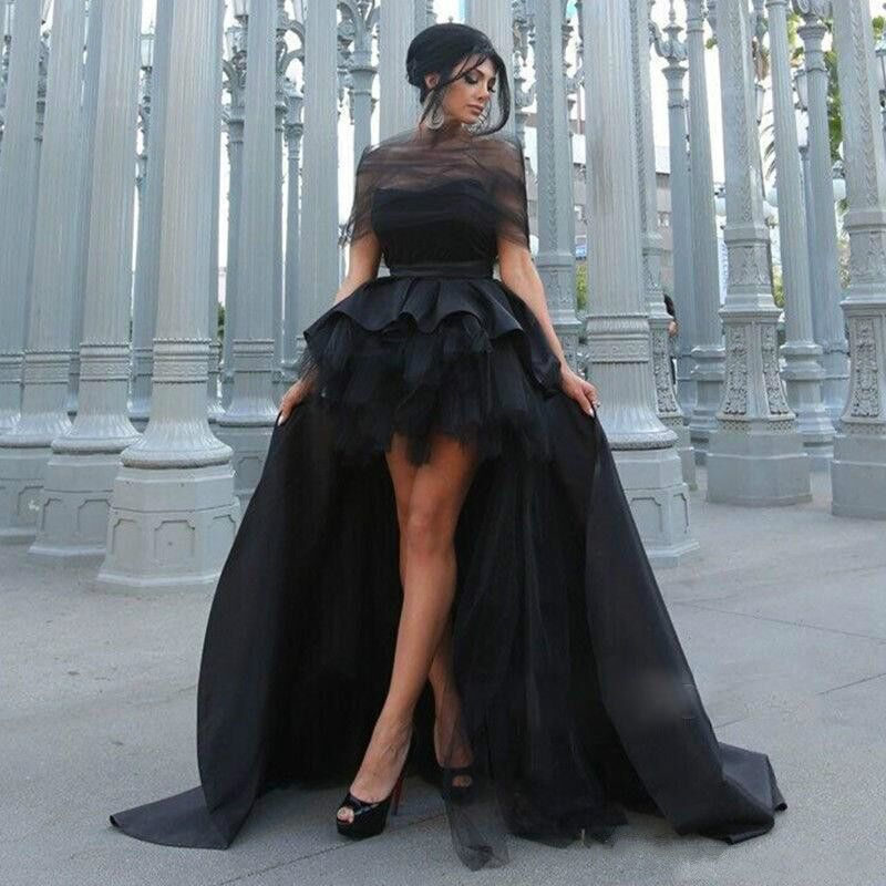2017 Black High Low Prom Dresses Ball Gown Sweetheart Ruched Sweet