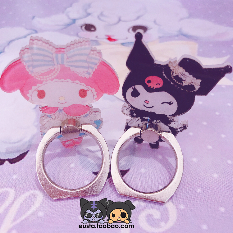 1pc Cute Cartoon MyMelody Kuromi  Phone Holder Ring Grip Dolls Accessories