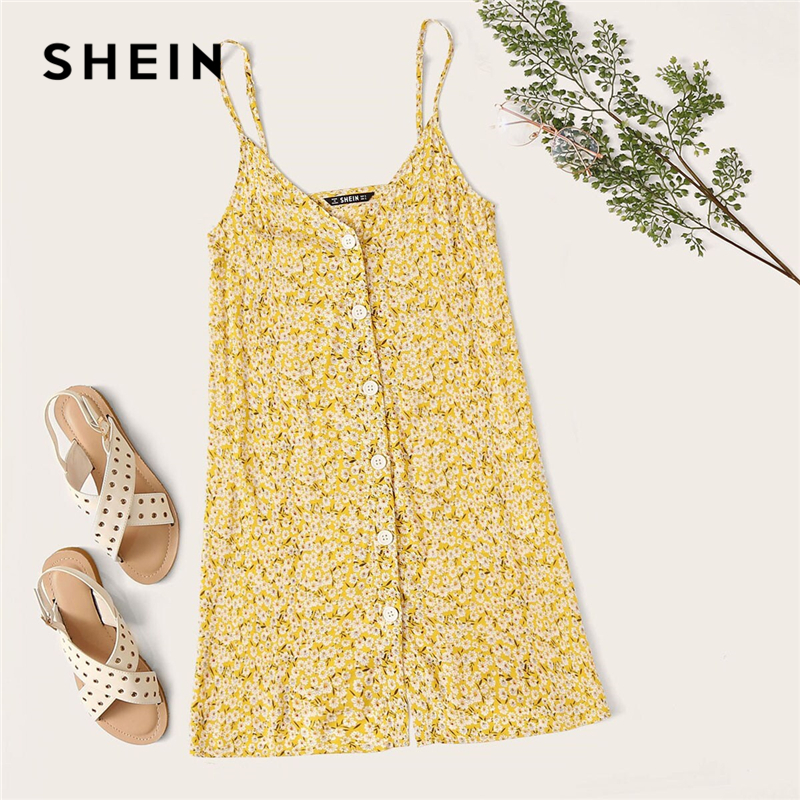 SHEIN Ditsy Floral Button Up V Neck Cami Sundress Sleeveless Summer Casual Straight Dress Women Ladies Slip Short Boho Dresses