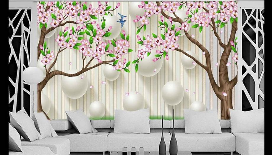 Large Mural Custom Size Background Hd Hand Painted Trees Art Bathroom Wall Wallpaper For Living Room Decor Painting In Wallpapers From Home